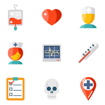 pediatric: Isolated icons set Medical care and health
