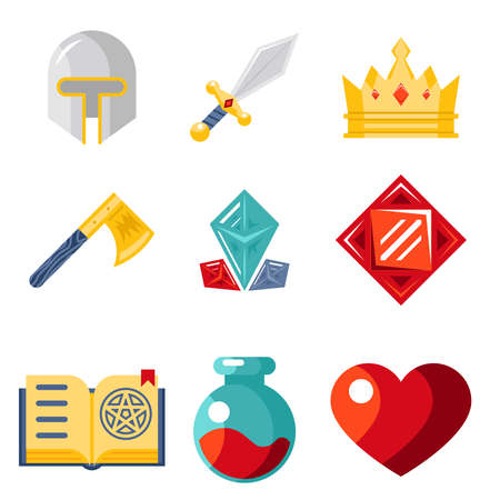Fantasy game flat icons vector trendy illustration