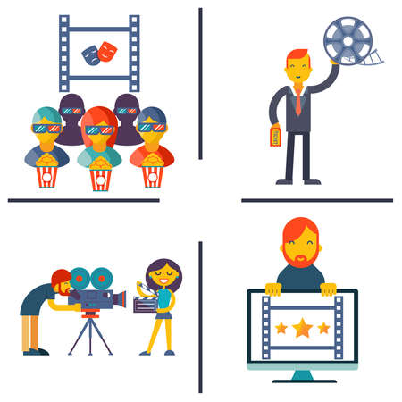 pg: Cinema and Movie flat concept set modern trendy vector illustration Illustration