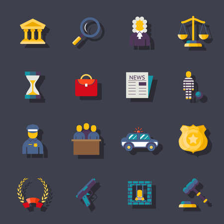 justice hammer: Flat law icons  ftat trendy illustration set