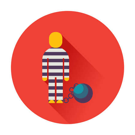 inmate: prisoner with ball on chain icon flat Illustration