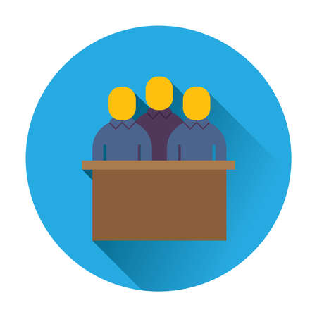 trial: jury trial icon flat trendy vector illustration