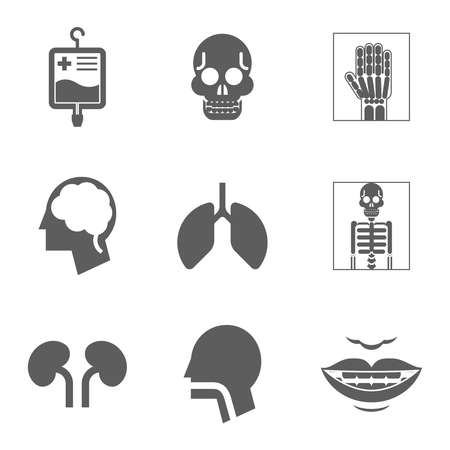 gullet: Medical care and health Isolated icons flat