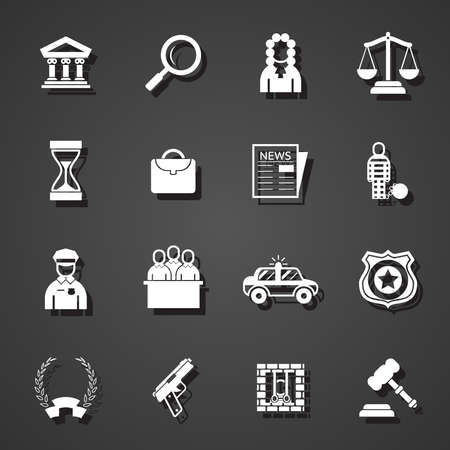 judge hammer: law icons set trendy vector flat illustration