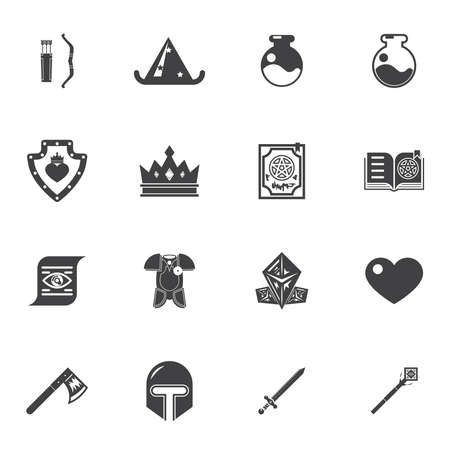 historic world event: Fantasy game trendy icons flat vector illustration