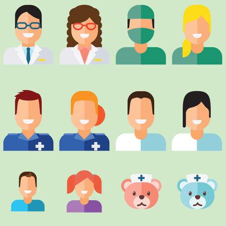 dressing treatment: Doctors Medical Care Health illustration vector set
