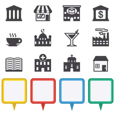 cocktails: Map and Location Icons illustration trendy vector