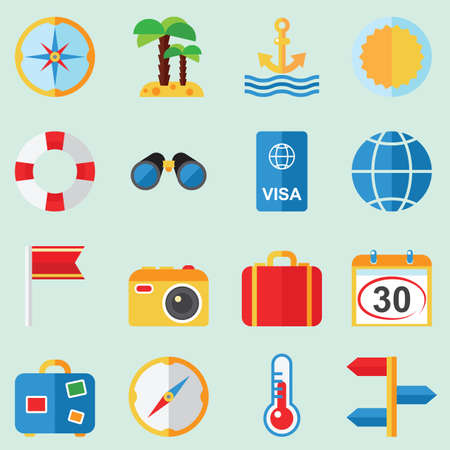 at rest: Travel and rest  icons illustration vector set