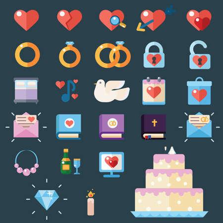 obligations: Wedding modern trendy flat vector illustration icons