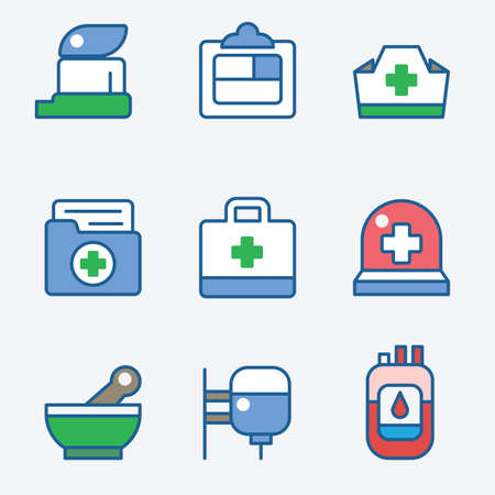 researches: Health and medical care icons flat set Illustration
