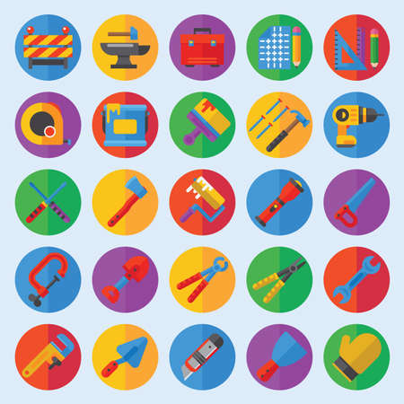 paint tool: Tools for repair care icons flat set Illustration