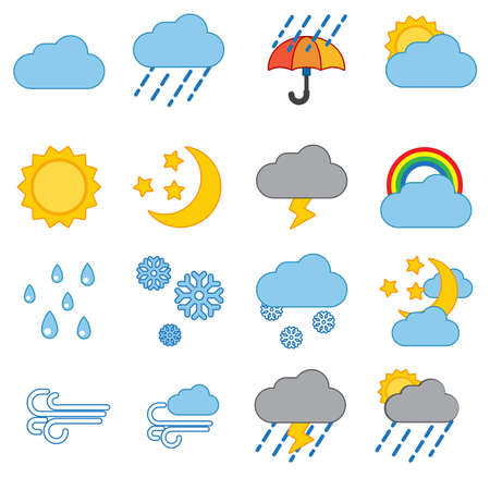 day forecast: Weather icon set modern trendy  vector illustration Illustration