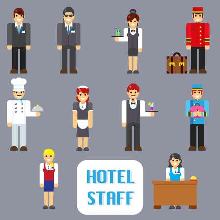 seguridad laboral: El personal de servicio iconos de moda de ilustraci�n vectorial plana