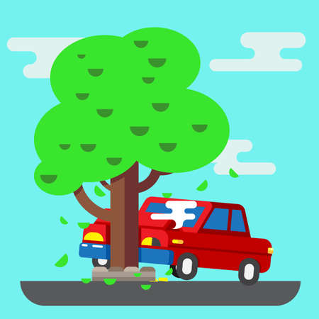 accidents: Road accident car trendy illustration vector flat