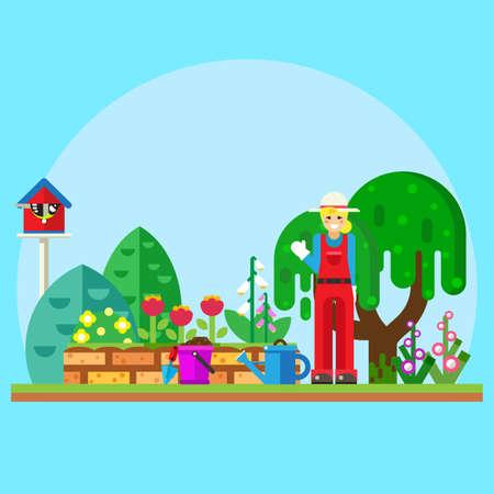 Illustratie tuinman in de tuin in de buurt van bloemen