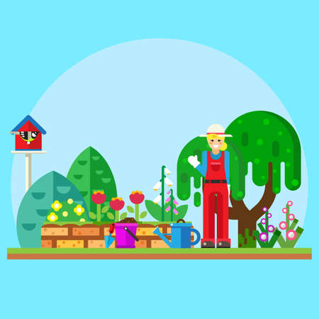 gardening: Illustration gardener in the garden near flowers Illustration