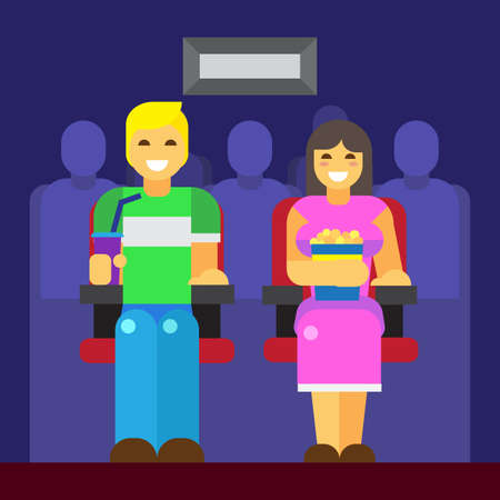 couple having fun: People at cinema icon trendy flat modern illustration