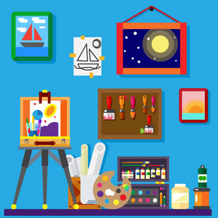 Artist workshop art gallery flat vector illustration Çizim