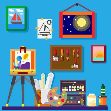 art frame: Artist workshop art gallery flat vector illustration Illustration