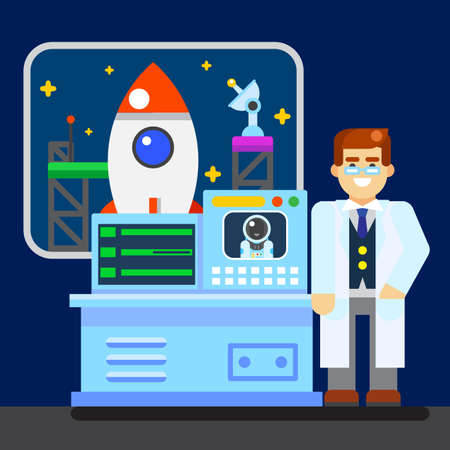astronautics: Scientist with spaceship vector picture illustration modern