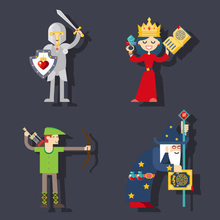 sword fight: Fantasy characters flat illustration modern trendy vector