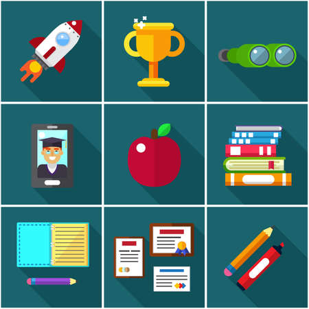 flat icons of elements, objects for high school and college education Ilustrace