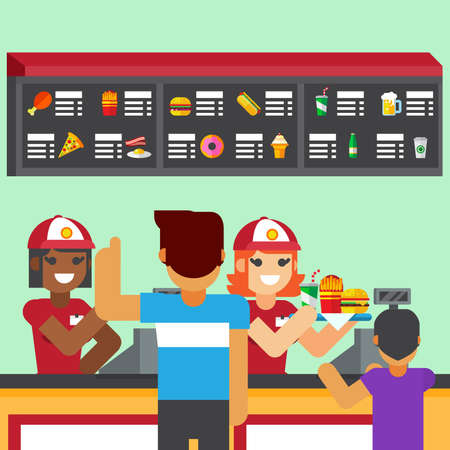 Restaurant workers serving fast food meals with smile. woman holding tray customer order Ilustrace