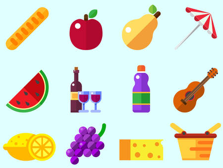 Summer picnic Icons: umbrella, guitar, basket with food, fruits, wine.