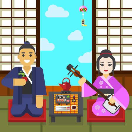 Geisha and samurai tea ceremony vector illustration