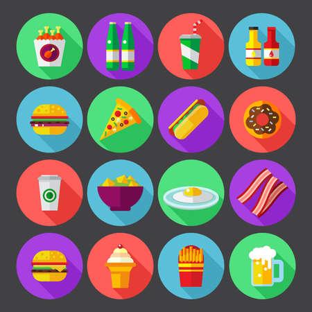 Fast-Food-bunte flache Design-Icons gesetzt. Template-Elemente für Web und mobile Anwendungen Vektorgrafik