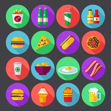fast food colorful flat design icons set. template elements for web and mobile applications
