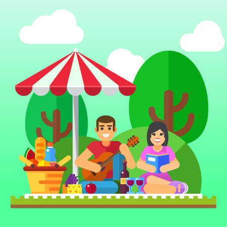 happy couple: Summer picnic background. Young family, happy couple holiday, healthy date. Vector illustration