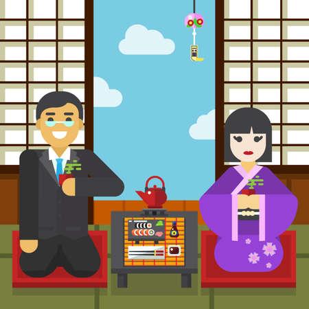 Geisha and samurai with tea cup tea ceremony vector illustration