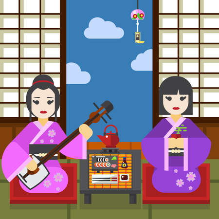 Two Geisha with tea cup and shamisen tea ceremony vector illustration