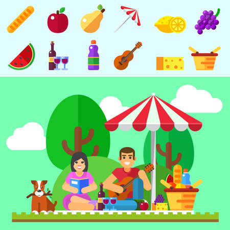 couple date: Summer picnic background. Young family with dog, happy couple holiday, outdoor date. Vector illustration