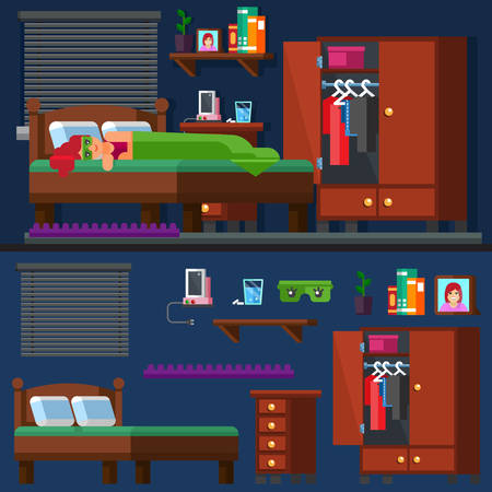 bedtime: Vector. Illustration. Teen and adult activity. A girl sleep in the bed Woman room. Bedtime. Vector illustration