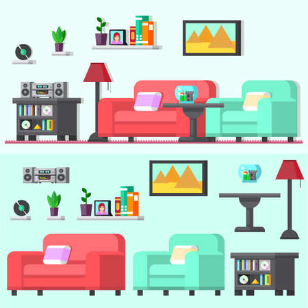 Modern living room with furniture. Flat style vector illustration Ilustrace