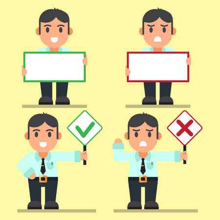Cute Cartoon Office workers with Right and Wrong Signs, Holding Big Text Sign . Ilustrace