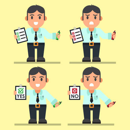 Cute Cartoon Office Workers with Checklist. Vector Set illustration esp10 Ilustrace