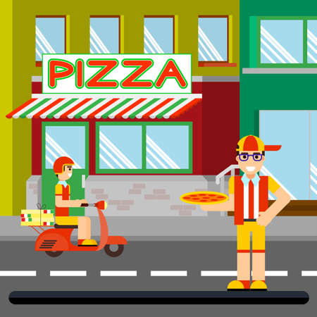 Nice food-delivery boy of pizzeria on a scooter with boxes of pizza, flat design Ilustrace