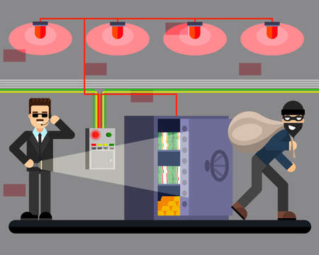 breaking law: Bank robbery hacking safe theft of money crime scene security system