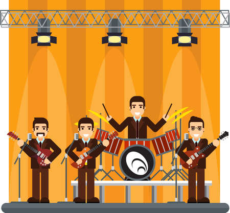 famous people: flat illustration of a music band on stage. performance or entertainment show