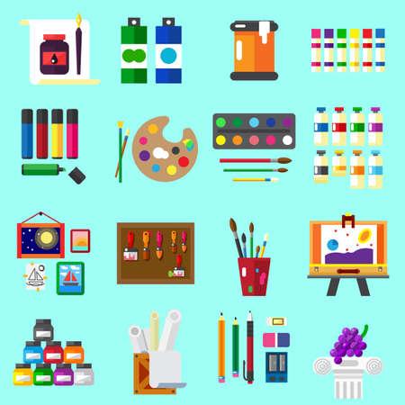 Painting icons flat set Illustration set