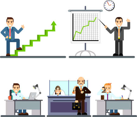 A illustration of people working in the office. Businessman