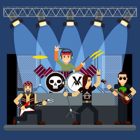 stage performance: music band on stage. performance or entertainment show Illustration