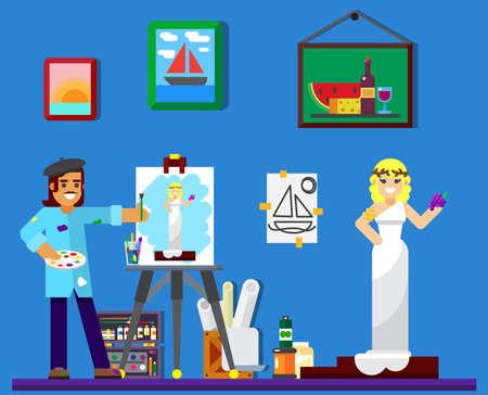 painter at work, painting model in studio illustration