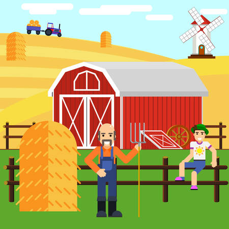 Illustration of a boy and farmer at the farm with a wooden house