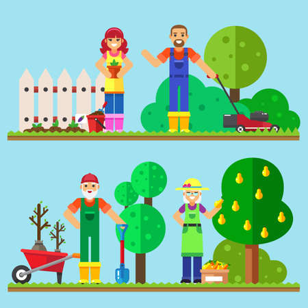 family gardening: Happy family gardening illustration of family working in the garden. Illustration