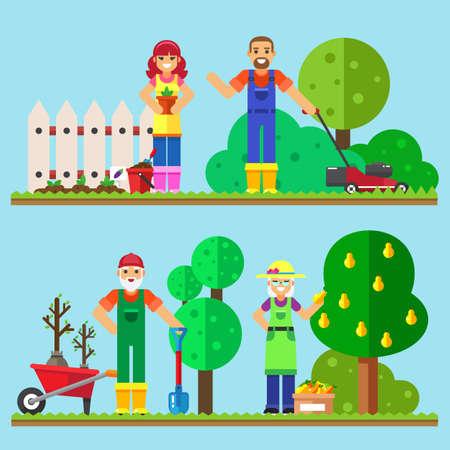 son of man: Happy family gardening illustration of family working in the garden. Illustration