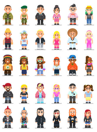 set of different subcultures man and woman in trendy flat style. Military, geek, sporty, punk, swag, businessman, biker and emo web flat icons